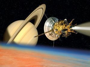 Computer Artwork of Cassini Spacecraft Over Titan by David Ducros