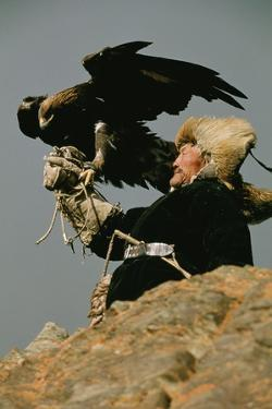 A Man with Hunting Eagle in Mongolia by David Edwards