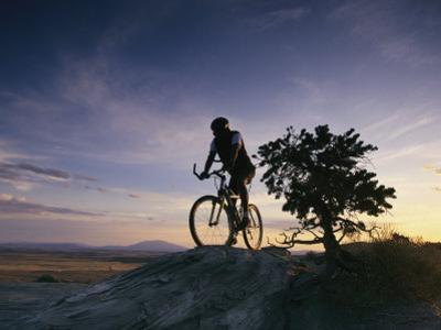 Cyclist at Sunset, Northern Arizona by David Edwards
