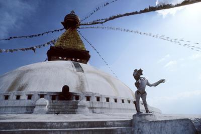 Flags Fly at Swayambunath Temple in Katmandu
