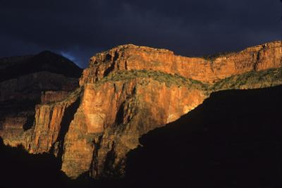 Late Light Shines on a Cliff after a Storm in Marble Canyon