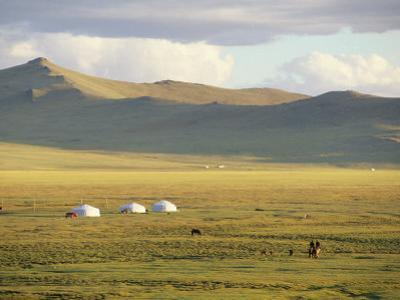 Steppeland Gers (Yurts) and Riders, Zavkhan, Mongolia