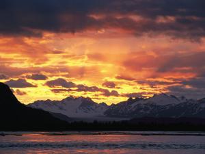 Sunset over Lowell Glacier, Alsek River, Alaska by David Edwards