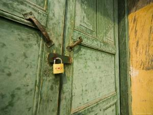 Gold Lock, Green Door, Yellow Wall of Chinese Farm Building, Wushan, China by David Evans