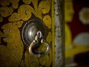 Painted Door and Latch Detail at the Temple of the Tooth Relic by David Evans