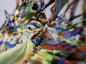 Tibetan Prayer Flags at the Temple of the Sun and Moon, Qinghai, China by David Evans