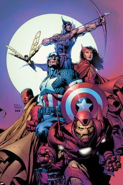 Avengers No.80 Cover: Iron Man, Captain America, Vision, Scarlet Witch, Hawkeye, Wasp and Avengers by David Finch