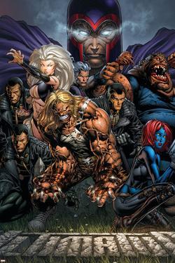 Ultimatum No.3 Cover: Magneto, Sabretooth, Madrox, Mystique, Blob, Quicksilver and Lorelei by David Finch