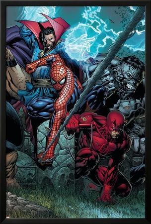 Ultimatum No.4 Cover: Spider-Man, Daredevil, Dr. Strange and Hulk by David Finch