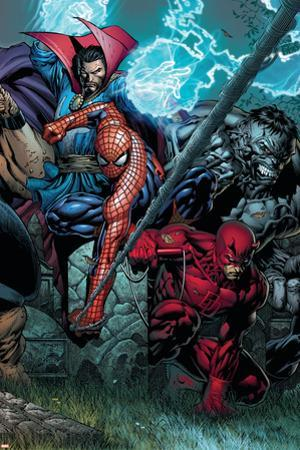 Ultimatum No.4 Cover: Spider-Man, Daredevil, Dr. Strange and Hulk by David Finch