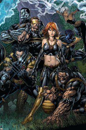 Ultimatum No.5 Cover: Grey, Jean, Beast, Wolverine, Cyclops, Colossus, Storm and Nightcrawler by David Finch