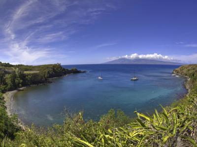 Sailboats and Snorkelers in Honolua Bay, Maui by David Fleetham