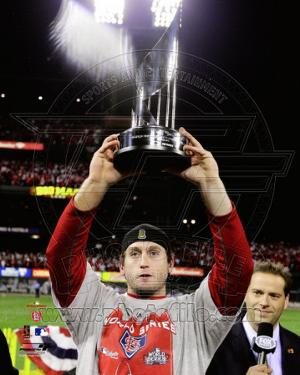 David Freese WITH World Series MVP Trophy Game 7 of the 2011 MLB World Series (#42)
