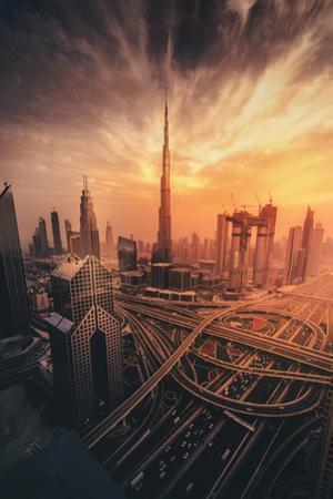 Dubai's Fiery sunset by David George