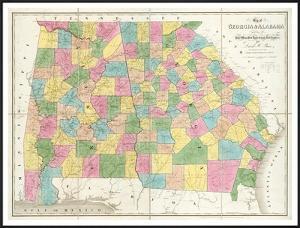 Map of Georgia and Alabama, c.1839 by David H. Burr