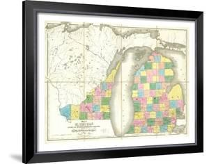 Map of Michigan and Part of Wisconsin Territory, c.1839 by David H. Burr