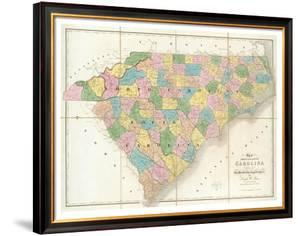 Map of North and South Carolina, c.1839 by David H. Burr
