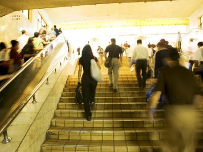 Communters in Pedestrian Stairway