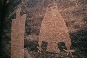 Owl Petroglyph in Sandstone on Kane Creek Just Outside Moab, Utah by David Hiser