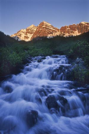 The Maroon Peaks From Maroon Creek Above the Lake in Early Morning by David Hiser