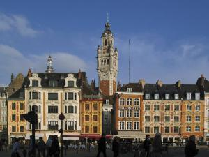 Flemish Buildings in the Grand Place Tower in Centre, Lille, France by David Hughes