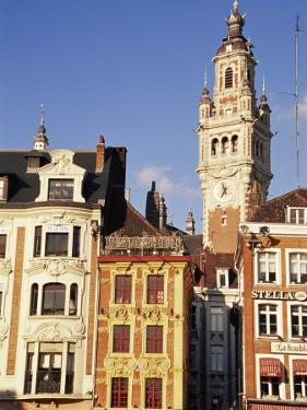 Flemish Houses and Belfry of the Nouvelle Bourse, Grand Place, Lille, Nord, France by David Hughes
