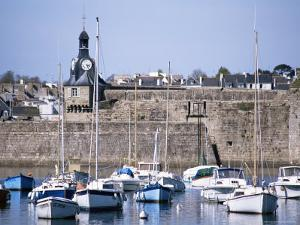 Harbour and Old Walled Town, Concarneau, Finistere, Brittany, France by David Hughes