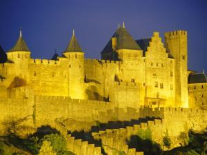 La Cite, Medieval Fortified Town, Carcassone, Aude, Languedoc-Roussillon, France by David Hughes
