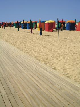 La Planche (Boadwalk) and Beach, Deauville, Calvados, Normandy, France by David Hughes