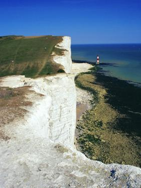 Lighthouse and Chalk Cliffs of Beachy Head Near Eastbourne from the South Downs Way, East Sussex by David Hughes