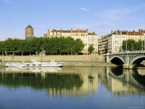 Quai Victor Augagneur on River Rhone, Lyon, Rhone Valley, France, Europe by David Hughes