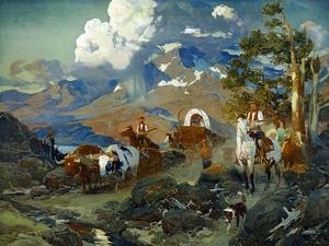 Emigrant Train at Donner Lake by David Johnson