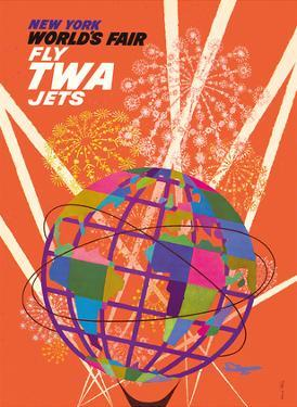 1964 New York World's Fair - Fly TWA Jets (Trans World Airlines) - Unisphere Globe by David Klein