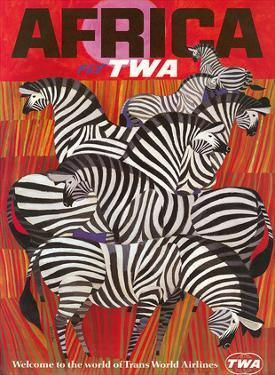 Africa - Fly TWA (Trans World Airlines) - Zebras by David Klein