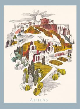 Athens, Greece - Parthenon Temple, Athenian Acropolis - TWA (Trans World Airlines) Menu Cover by David Klein