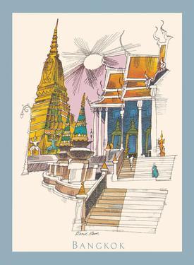 Bangkok, Thailand - Temple of the Dawn - TWA Menu Cover by David Klein