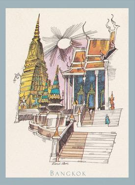 Bangkok, Thailand - Temple of the Dawn - TWA (Trans World Airlines) Menu Cover by David Klein