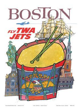 Boston - Fly TWA Jets - Trans World Airlines - Colonial Massachusetts by David Klein