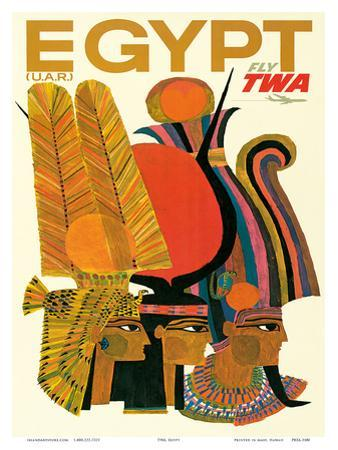 Egypt - Fly TWA (Trans World Airlines) - United Arab Republic (U.A.R.) - Egyptian Pharaohs by David Klein