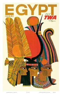 Egypt - Fly TWA (Trans World Airlines) - United Arab Republic (U.A.R.) - Egyptian Pharaohs by David Klein