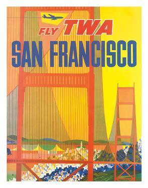 Fly TWA San Francisco, Golden Gate Bridge c.1958 by David Klein