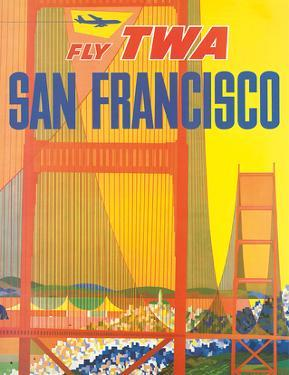 Fly TWA San Francisco, Golden Gate Bridge c.1958 by David Klein