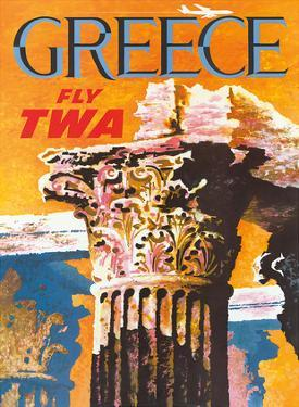 Greece - Fly TWA (Trans World Airlines) - Corinthian Style Greek Column by David Klein
