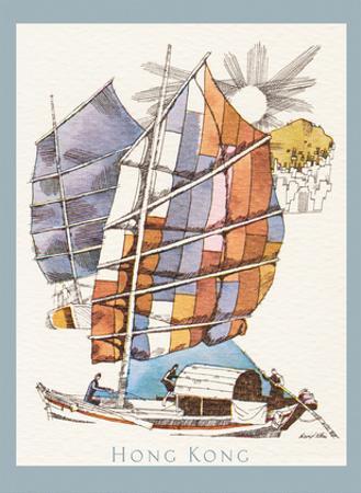 Hong Kong - Chinese Fishing Junk Sampan Boat - TWA (Trans World Airlines) Menu Cover by David Klein