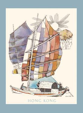 Hong Kong - Chinese Sampan Boat - TWA (Trans World Airlines) by David Klein