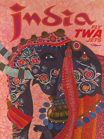 India - Fly TWA Jets (Trans World Airlines) - Adorned Elephant by David Klein
