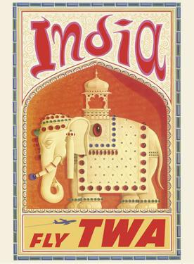 India - Fly TWA (Trans World Airlines) - Bejeweled Indian Elephant with Howdah (Carriage) by David Klein