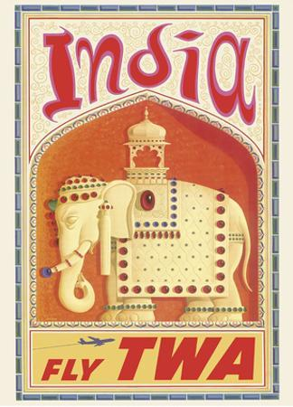 India - Fly TWA (Trans World Airlines) - Bejeweled Indian Elephant with Howdah (Carriage)
