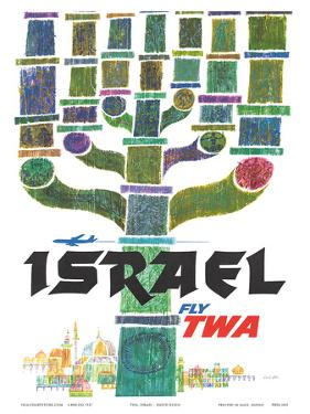 Israel - Fly TWA (Trans World Airlines) - Menorah by David Klein