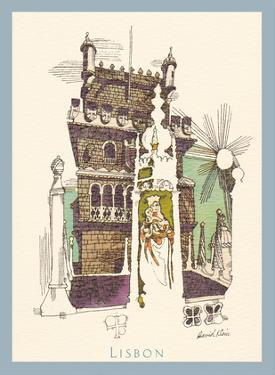 Lisbon Portugal - Tower of Belem - TWA (Trans World Airlines) Menu Cover by David Klein